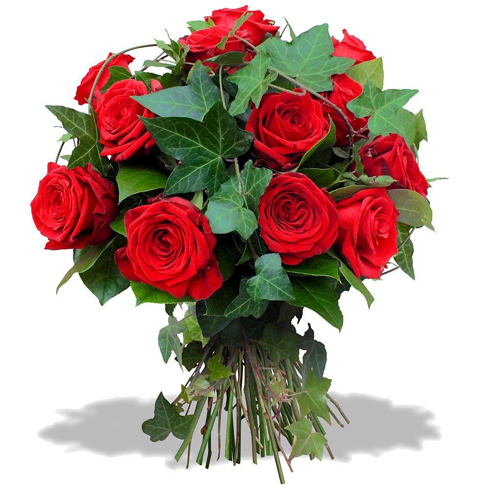 Букет алых и белых роз, оформления букета